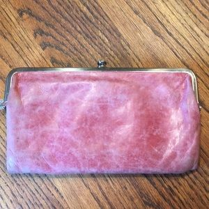 HOBO brand rose leather carryall clutch